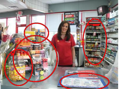 Store Checkout With Point of Purchase locations circled